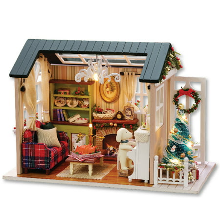 DIY Christmas Miniature Dollhouse Kit Realistic Mini 3D Wooden House Room Craft with Furniture LED Lights Children's Day Birthday Gift Christmas Decoration