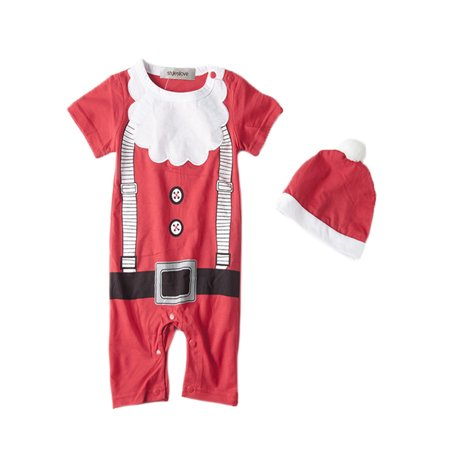 63a190732c2 StylesILove 2PC Santa Baby Boy Holiday Costume Romper With Hat (3-6 Months)