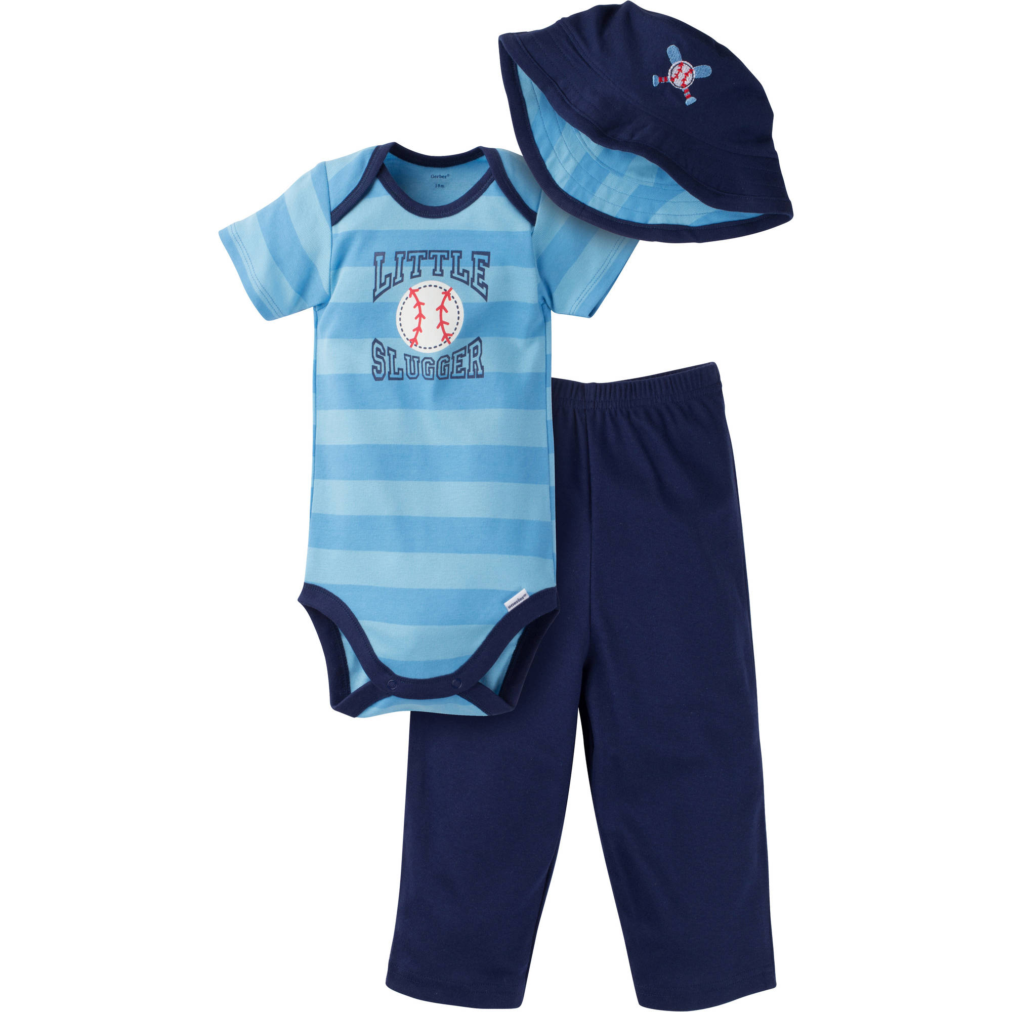 Gerber Newborn Baby Boy 3-Piece Bodysuit, Pant and Bucket Hat Outfit Set