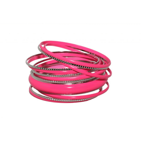 Lux Accessories Neon Pink Enamel Textured Multi Bangle