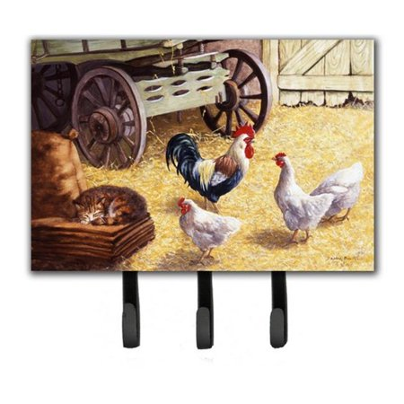 Rooster & Hens Chickens in the Barn Leash or Key Holder - Chicken Hood