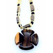 Necklace-Cross-Wood w/Tiger Beads On Macrame