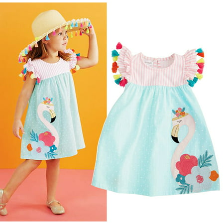 Cute Toddler Kids Girls Flamingo Casual Summer Dress Sundres - Flamenco Girls