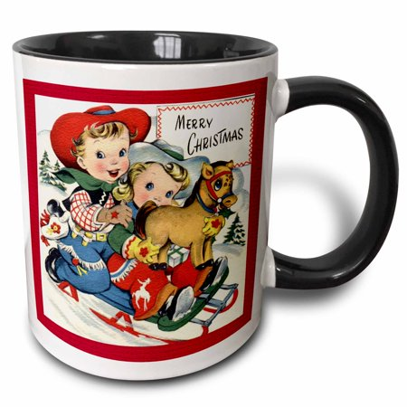 3dRose Little Cowboy and Cowgirl with Toy Pony Sledding - Two Tone Black Mug, 11-ounce