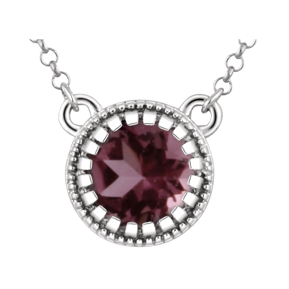 14k White Gold October Polished Pink Tourmaline Necklace by