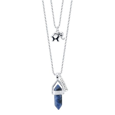 Believe By Brilliance Fine Silver Plated Sodalite Two Layer Necklace with