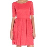 jessica simpson women's lace fit-and-flare dress, coral, 6