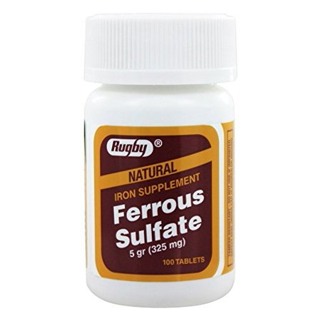 2 Pack Rugby Ferrous Sulfate 325mg Natural Iron Supplement 100 Tablets Each (Ferrous Sulfate Iron Deficiency Anemia)