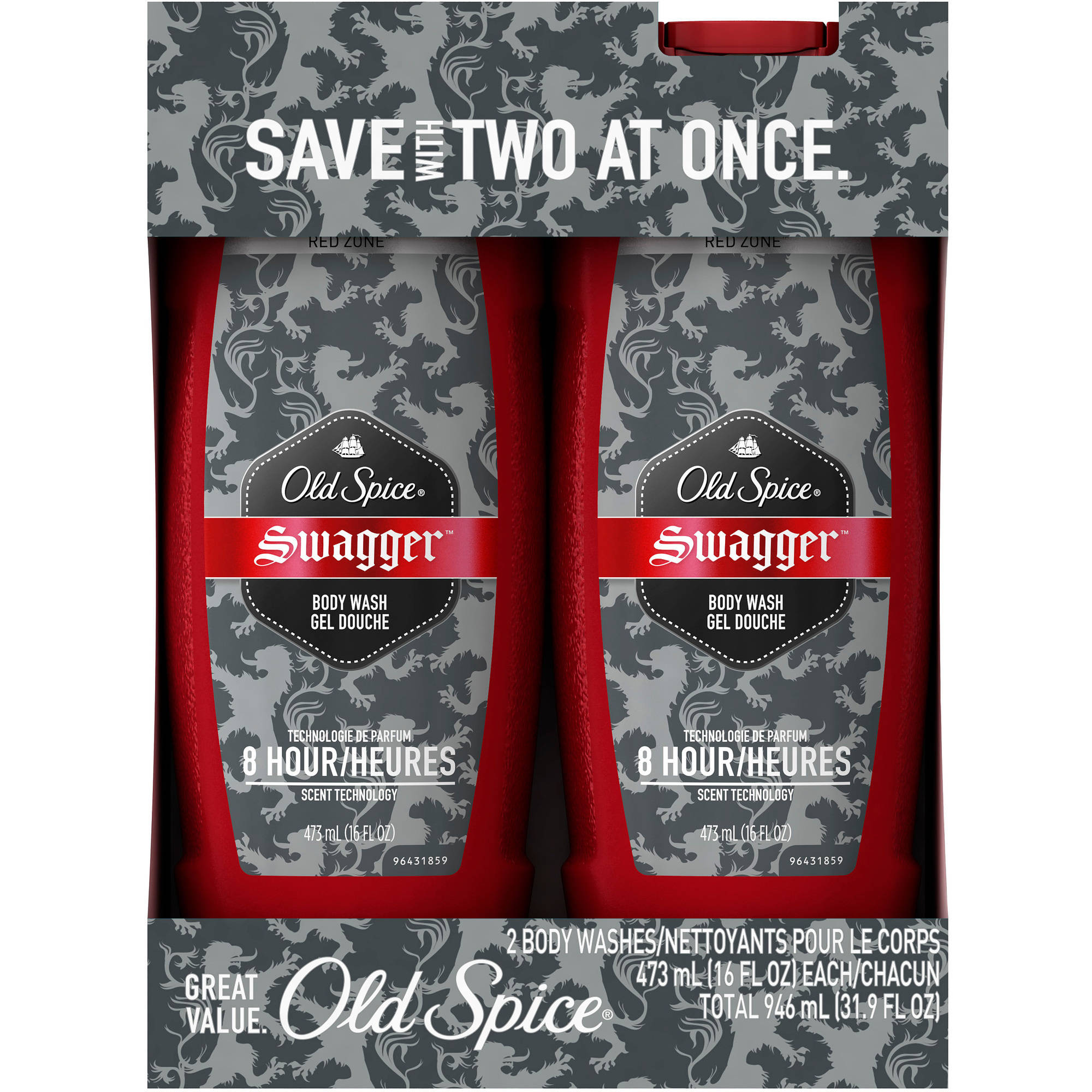 Old Spice Red Zone Swagger Scent Men's Body Wash, 16 fl oz, 2 count