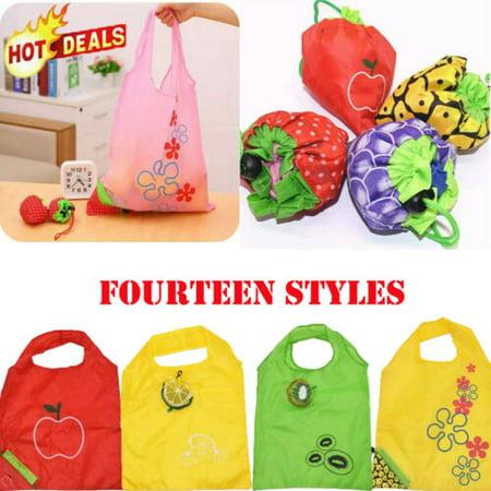 Reusable Foldable Shopping Bag Eco Fruit Tote Handbag Fold Away Ladies Clip Green Bag Fruit