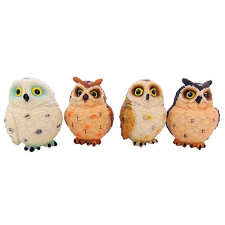 Owl Figurines Set of 4 Small Statues Each 3 Inches Tall (Small Figurines)