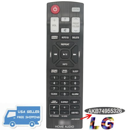 New AKB74955326 Remote for LG HOME AUDIO Power Speaker System FH6 New AKB74955326 Remote for LG HOME AUDIO Power Speaker System FH6 condition: New Model: AKB74955326Modified Item: NoCustom Bundle: NoCompatible Brand: For LGBatteries Included: NoNon-Domestic Product: NoType: Home Audio RemoteFeatures: InfraredCompatible Model: FH6MPN: Does Not ApplyWireless Range: 5-10 mBrand: Unbranded/GenericManufacturer Color: Black