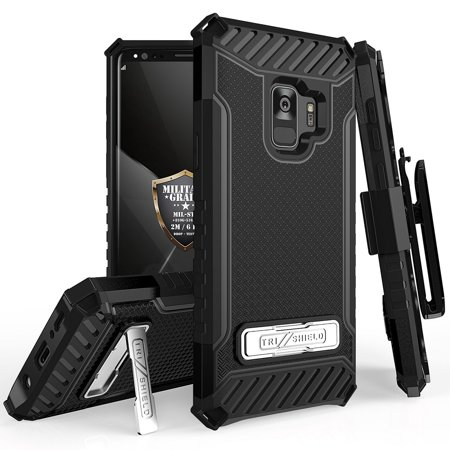 Beyond Cell Tri Shield Military Grade Drop Tested [MIL-STD 810G-516.6] Protective Phone Case (Black) with Rotatable Belt Holster Clip and Atom Cloth for Samsung Galaxy S9 (Protective Shield Case)