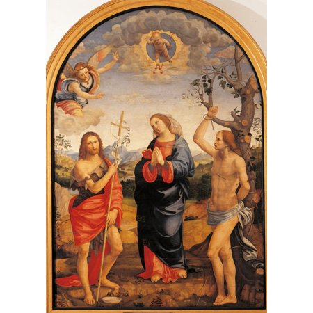 The Virgin With Sts Sebastian And John The Baptist Canvas Art -...