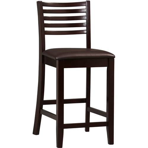 Linon Triena Collection Ladder Counter Stool, Espresso, 24 inch Seat Height