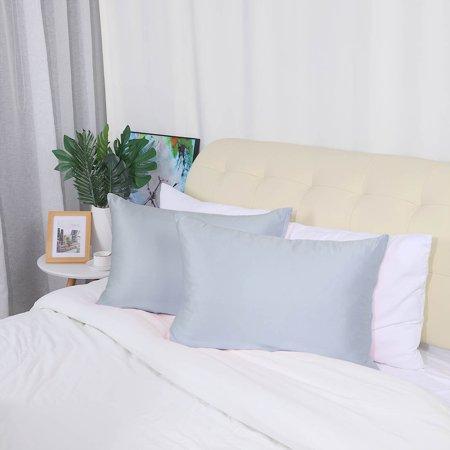 2 Pack Standard Silky Satin Pillowcases Zippered Pillow