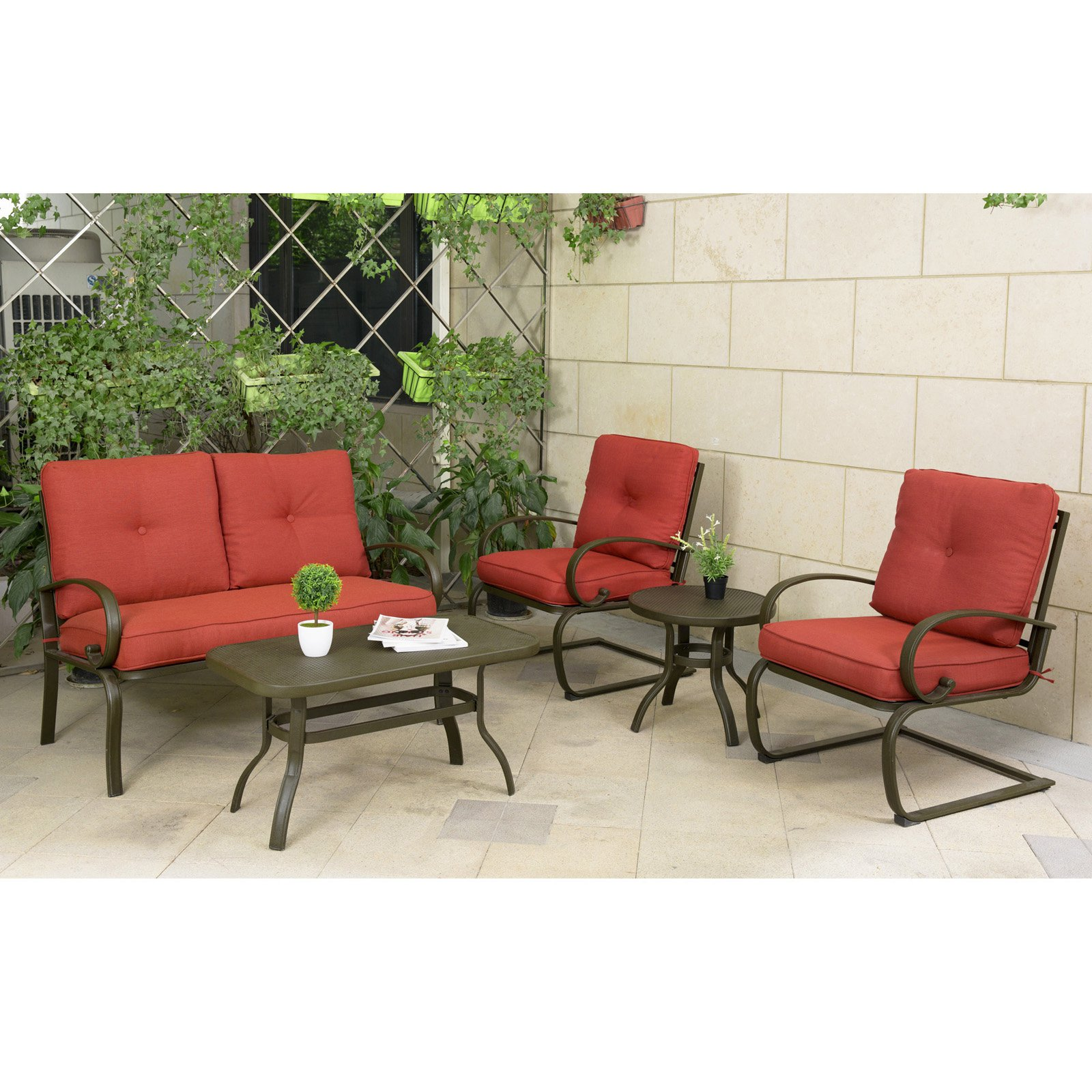 Cloud Mountain Wrought Iron 5 Piece Patio Conversation Set