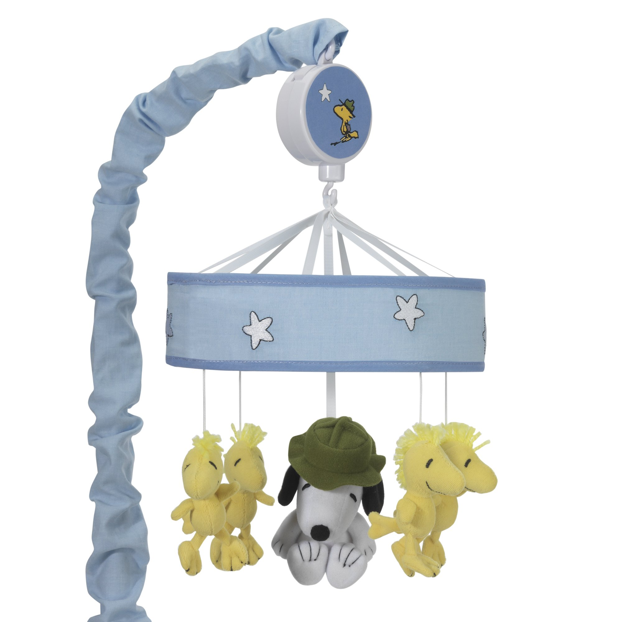 Lambs & Ivy Snoopy's™ Campout with Woodstock Blue/White Musical Baby Crib Mobile