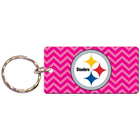Pittsburgh Pirates Mlb Keychain (Pittsburgh Steelers Chevron Printed Acrylic Team Color Logo Keychain - Pink - No Size)