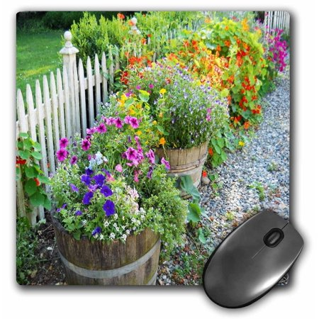 3dRose Country Garden White Picket Fence n Crates Of Wildflowers, Mouse Pad, 8 by 8 inches