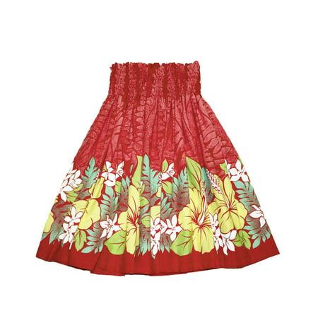 Hawaiian Pa'u Hula Skirt Hawaii Print Red Flower Or Blue Flower For womens (Red)