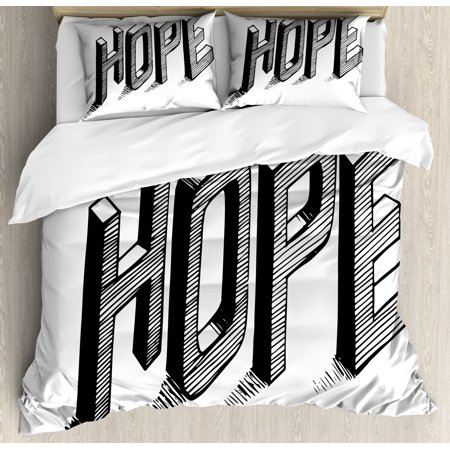 Hope King Size Duvet Cover Set, Sketch Letters with Stripes Spelling Hope Hand Drawn Calligraphic Arrangement, Decorative 3 Piece Bedding Set with 2 Pillow Shams, Black and White, by Ambesonne