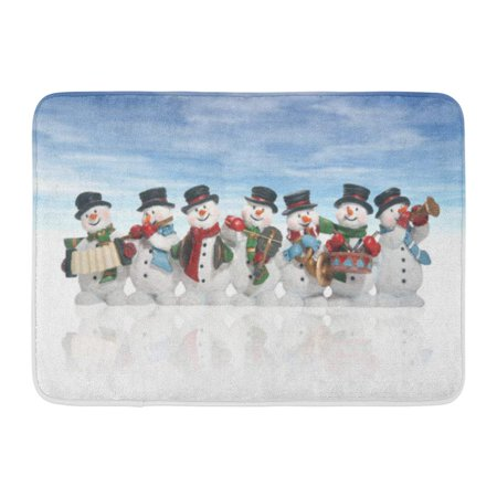 GODPOK Song Christmas Snowmen Playing Music Instruments Over White Holiday Happy Rug Doormat Bath Mat 23.6x15.7 inch ()