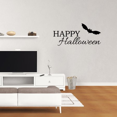 Happy Halloween Decal Bat Sticker Wall Decor Vinyl Lettering Wall Saying Sticker Home Art XJ631 - Halloween Sayings For Teacher Gifts