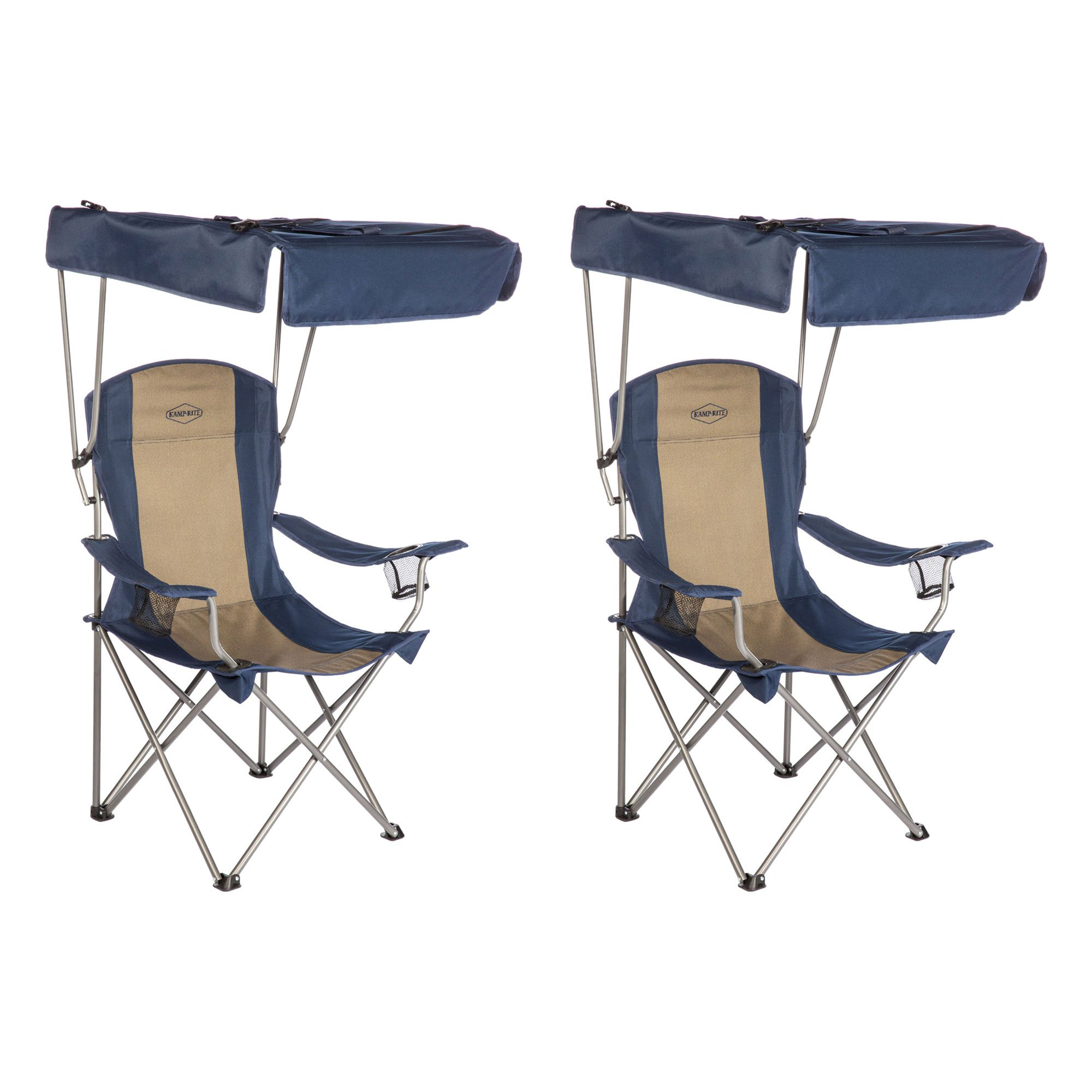 Kamp-Rite Outdoor Tailgating Camping Shade Canopy Folding Lawn Chair (2 Pack)