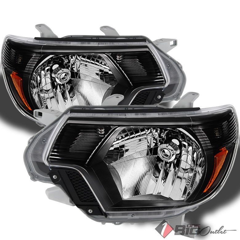 For 2012-2015 Tacoma Black Headlights Assembly Replacement LH+RH Front Lamps Pair Left+Right/2013 2014
