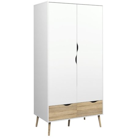 Atlin Designs 2 Drawer and 2 Door Wardrobe in White and Oak 2 Drawer Double Wardrobe