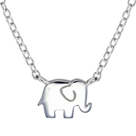 Motif Yellow Necklace - Sterling Silver Elephant Motif Station Pendant Necklace