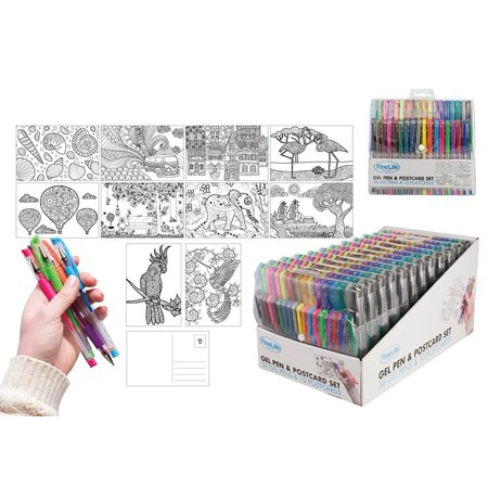 GEL PEN COLORING POST CARD SET](Cheap Gel Pens)