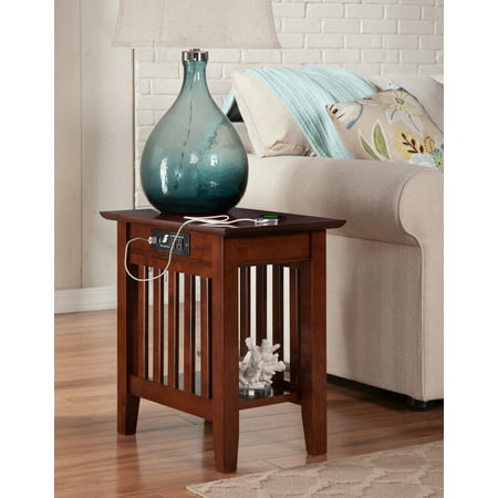 Mission Chair Side Table with Charging Station in Walnut or Caramel