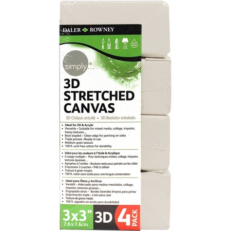 Simply Canvas Stretched  3D  3   X 3    4Pc