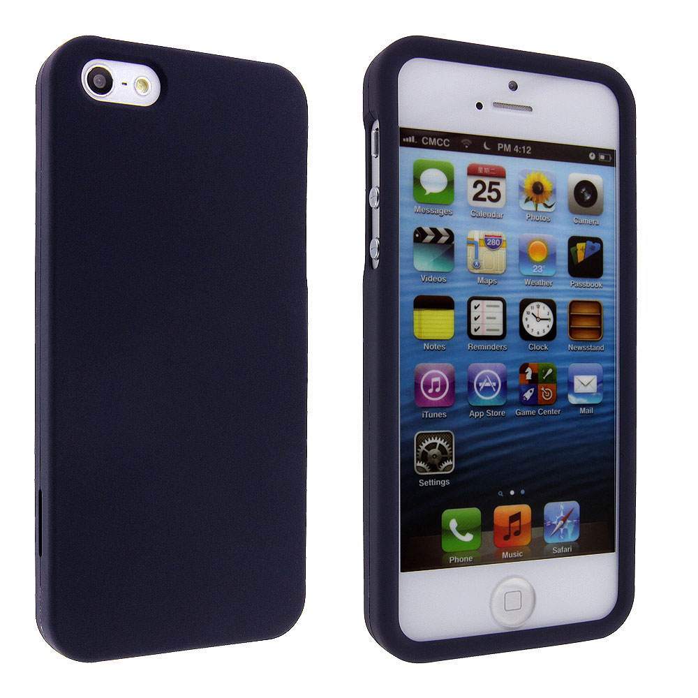 new concept 8cd0b 13ed0 Navy Blue Snap On Hard Case Cover for iPhone 5 5S SE - Walmart.com