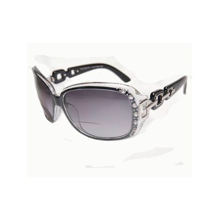 Womens Bifocal Lens Sunglasses Rhinestone Oversized Square Frame Black +2.50