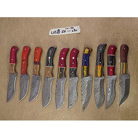 10 pieces lot of Damascus steel skinning knives, Pocket knives with Leather sheath, Camping knife set, hand forged Damascus steel blade thumbnail