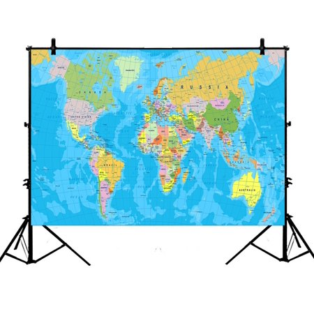 PHFZK 7x5ft Educational Backdrops, Colored World Map with Countries and Cities Name Photography Backdrops Polyester Photo Background Studio Props - Mlp Background