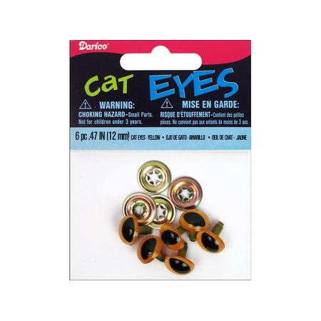 Shank Back Cat Eyes 12mm 6/Pkg-Orange