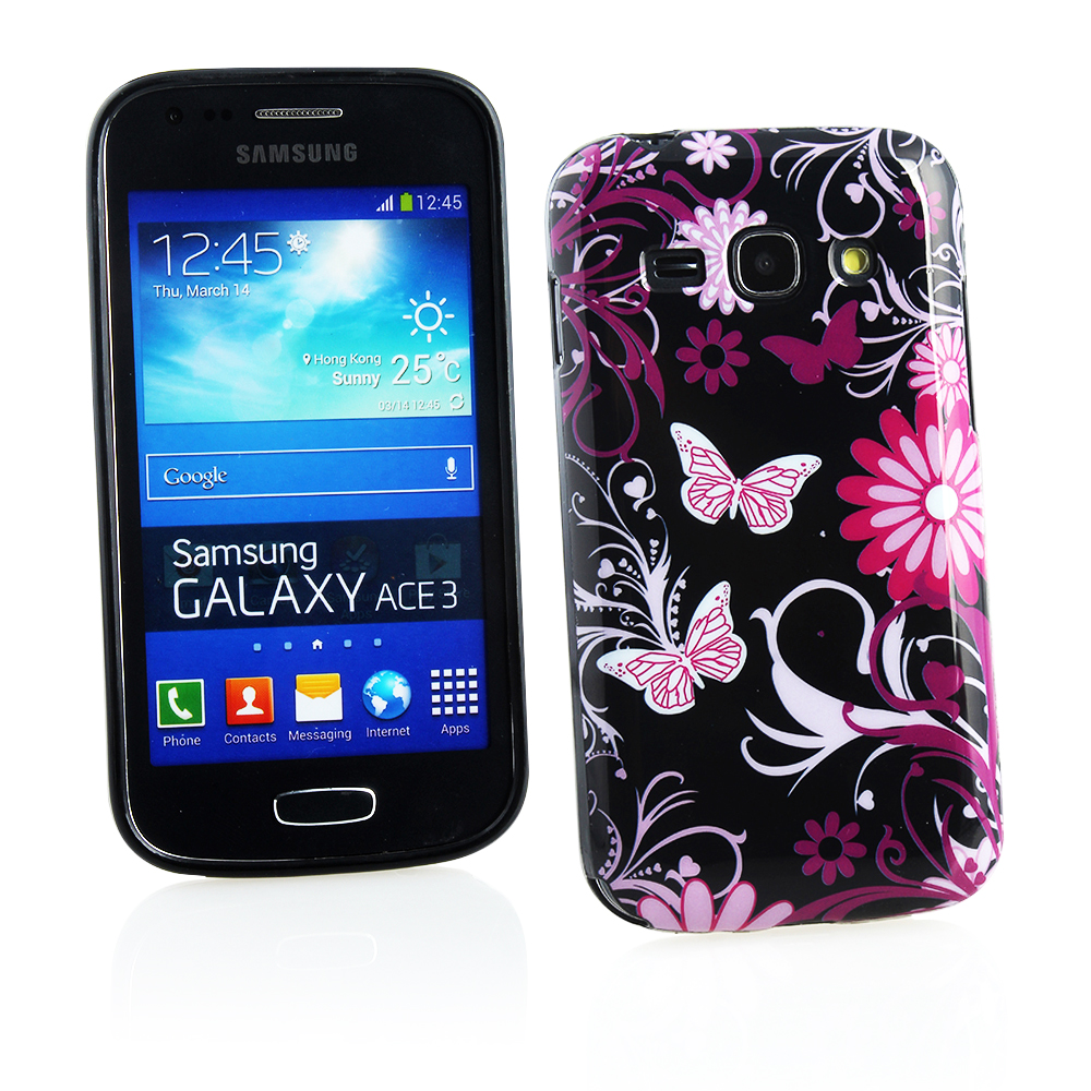 KMO Samsung Galaxy Ace 3 S7272 S7275 Cover Case [Shock Absorbing] [Thin Fit] Soft TPU Gel Skin Protection - Black Pink Garden