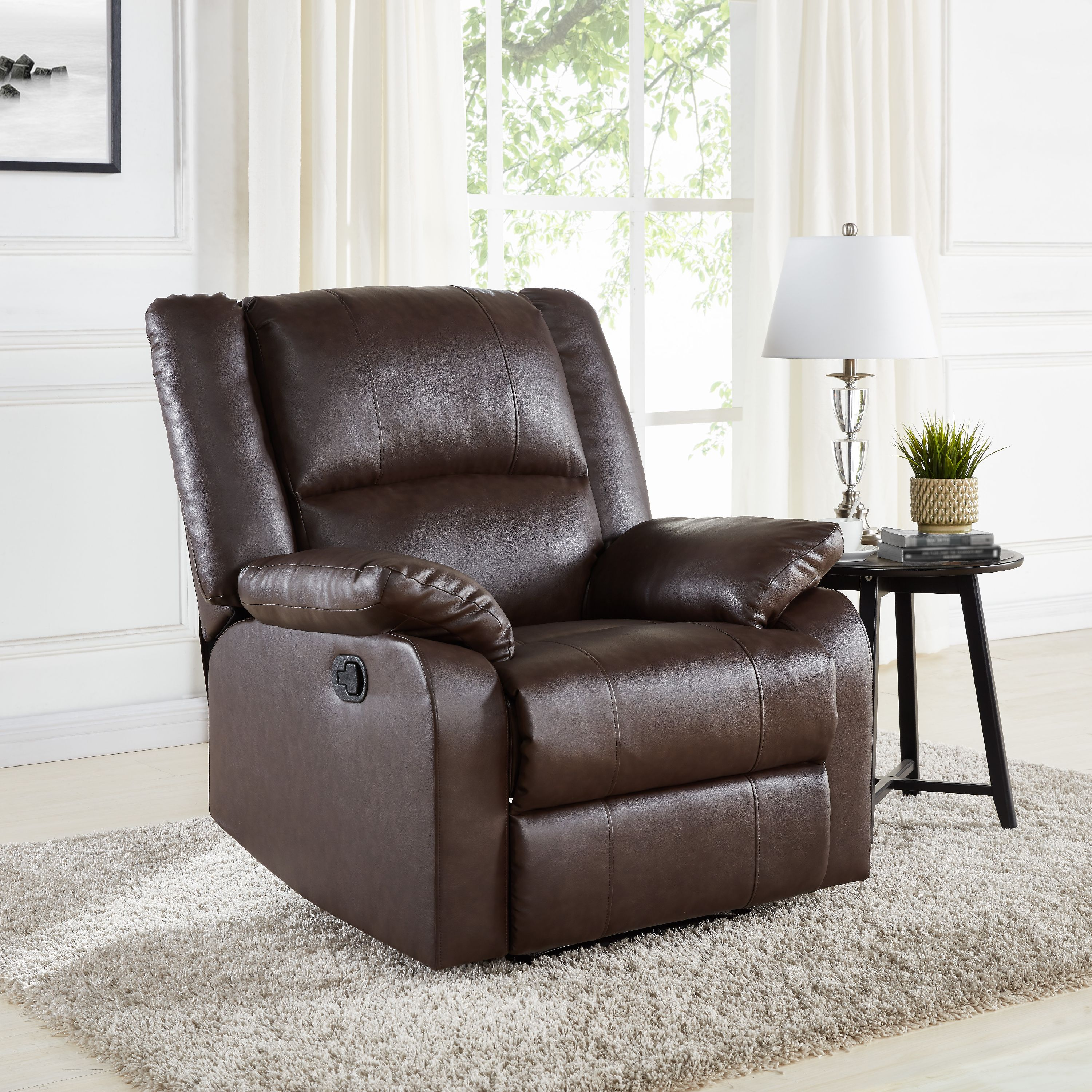 Mainstays Faux Leather Upholstered Recliner, Multiple Colors