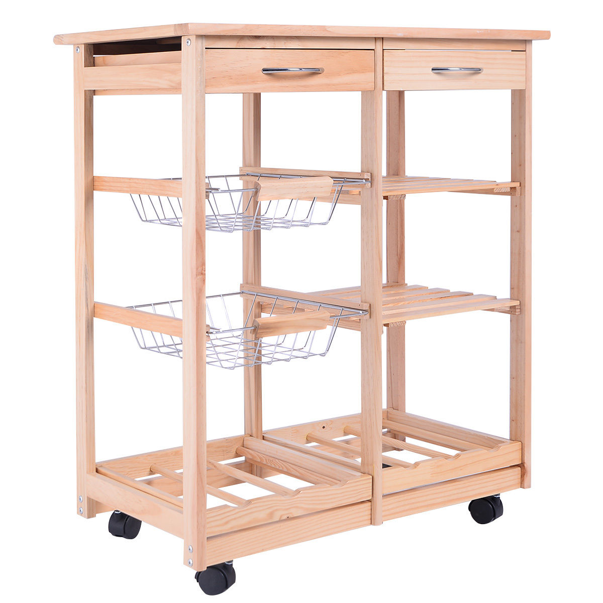rolling cart with drawers costway rolling wood kitchen trolley cart dining storage 25618