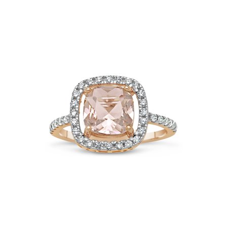 8mm Cushion-Cut Simulated Morganite with White CZ 18kt Rose Gold over Sterling Silver Square Halo Ring 18kt White Gold Antique Ring