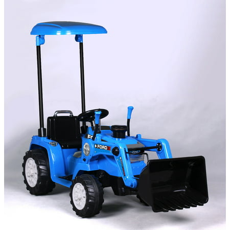 12V Best Ride On Construction Ford Tractor with Loader & Canopy, Battery Powered Wheels Wonderlanes Toys for Kids (2000 Top Loaders)