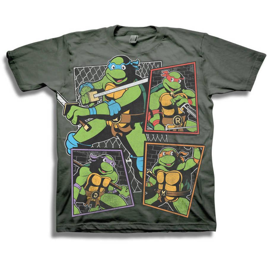 TMNT Classic Character Panels Group Shot Boys' Short Sleeve Graphic Tee T-Shirt