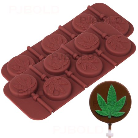 Molded Cargo Area Tray - Marijuana Leaf Lollipop Silicone Candy Mold Tray, 2 Pack