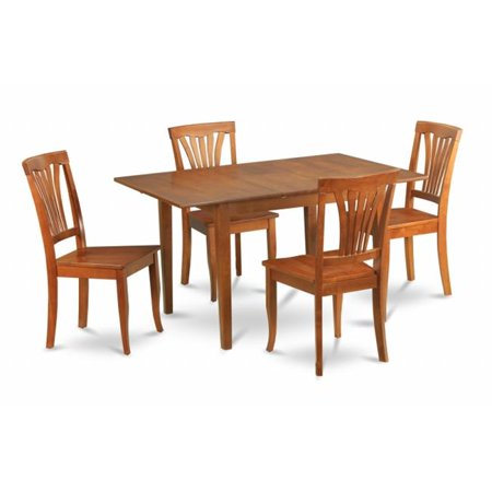 East West Furniture MLAV5-SBR-W Milan 5PC Set with Rectangular Table with 12 in butterfly leaf and 4 Wood seat chairs