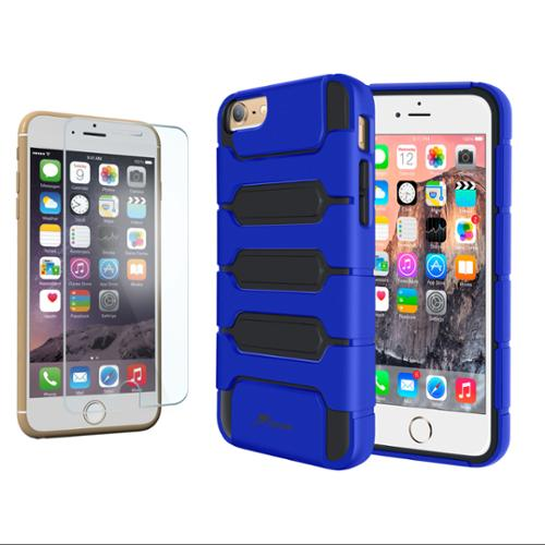 iPhone 6 Case Bundle (Case + Glass Protector), roocase iPhone 6 4.7 XENO Armor Shock Resistant Tough Hybrid PC / TPU Case Cover with Tempered Glass for Apple iPhone 6 4.7-inch, Dark Blue