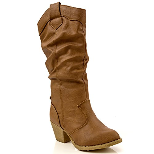 Simply Petals Girl's Western Cowgirl Riding Boot in Tan S...